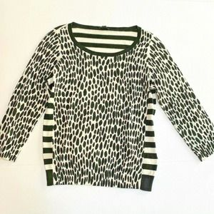 Ann Taylor pullover sweater black & white stripe M